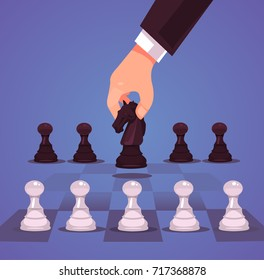Businessman office worker manager character hand make business strategic chess move horse. Vector flat cartoon illustration