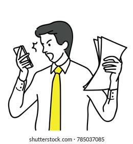 Businessman, office worker, shocked and surprised with smartphone, having problem and trouble. Outline, linear, thin line art, hand drawn sketch design, simple style.