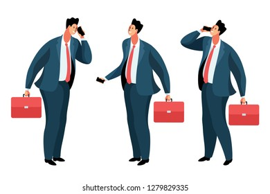 Businessman or office worker standing and speaking on the phone. Set of cartoon characters with briefcases, in full height. Vector illustration