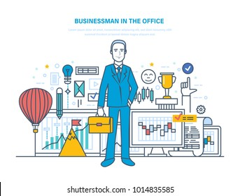 Businessman in the office. Workflow control, project management, evaluation, analysis of data, achievement of successful outcome, financial strategy and statistics. Illustration thin line design.