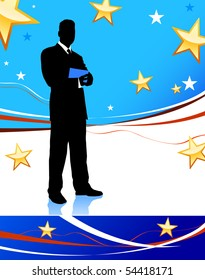 Businessman on Abstract United States Background Original Illustration