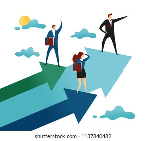 Businessman on Arrow Graph. Leader Leads the Team to Top of Success. Only Forward. Business Vector Concept Illustration