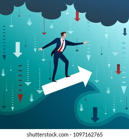 The businessman on arrow has ridden out wave in crisis and problems around against the background of a rain from arrows and clouds. Concept, flat design vector illustration, clip art
