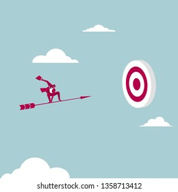 Businessman on the arrow. Shoot at the target. Isolated on blue background.