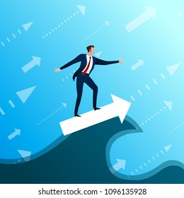 The businessman on arrow a subordinates success wave on blue sky background. Concept, flat design vector illustration, clip art.