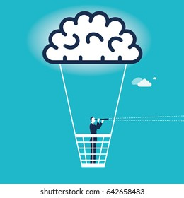 Businessman on a balloon with spyglass. concept business vector illustration