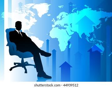 Businessman on Blue Arrow Background with World Map Original Vector Illustration