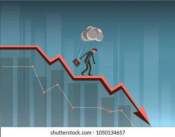 Businessman On Falling Down Chart. Business Concept Illustration.