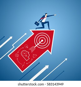 Businessman on growth arrow graph with icons pointing finger and looking for success, opportunities, future business trends. Vision concept. Cartoon Vector illustration.