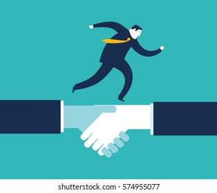 Businessman on a handshake. Vector illustration Eps10 file. Global colors.