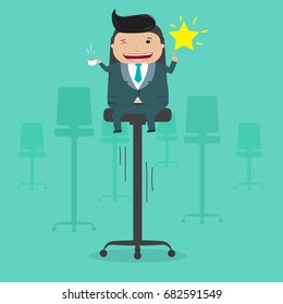 Businessman on high chair grab star in the sky