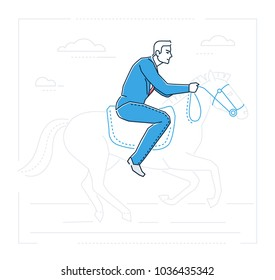 Businessman on horseback - line design style isolated illustration on white background. Metaphorical image of a man sitting in a saddle, pursuing his aims, trying to achieve his goals