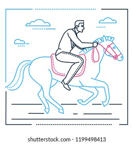 Businessman on horseback - line design style illustration on white background. Metaphorical linear composition of a smart young man sitting in a saddle, pursuing his aims, trying to achieve his goals