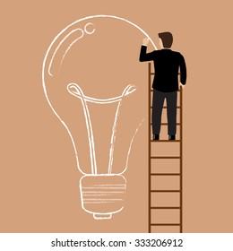 Businessman on the ladder drawing lightbulb idea. Business idea concept