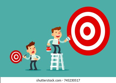 Businessman on ladder painting big business target goal and another businessman painting small target. Business target concept.