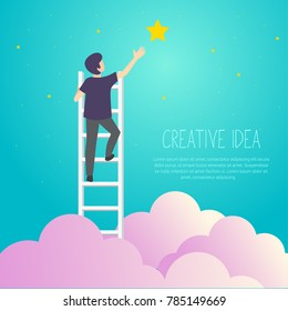 Businessman on a ladder to pick the star above cloud. Vector Illustration Business concept a ladder Corporate of success.