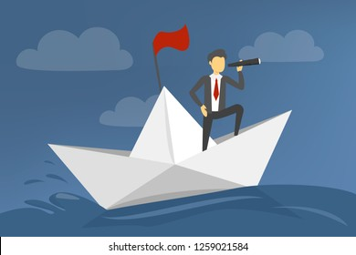 Businessman on paper boat sailing in sea. Direction of business and management. Ship in water. Metaphor illustration of leadership.