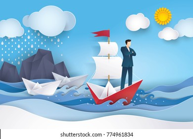 Businessman on Red and white sailing boat in the ocean, Leadership and Business concept, Creative idea, Future success. Paper art vector and illustration, The sky after Raining and big storm