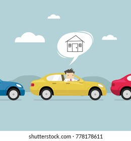 Businessman on the road back home by car with traffic jam. vector