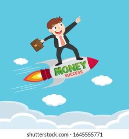Businessman on rocket, illustration vector cartoon