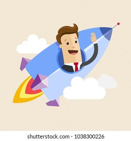 Businessman on a rocket. Startup business concept. Flat cartoon style. Vector illustration.