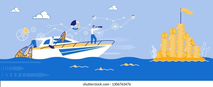 Businessman on Ship. Business Team Sailing Toward Profit. Captain with Spyglass. Focus on Money. Business Coaching, Leadership and Guidance. Planning Strategy Concept. Company Teamwork. Vector EPS 10.