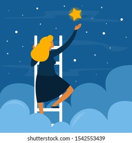 Businessman on stairs reaching the golden star. Success and aspiration. Goal in career. Woman climb the ladder. Starry night.