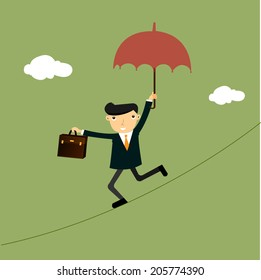 Businessman on a suspended rope , eps10 vector format
