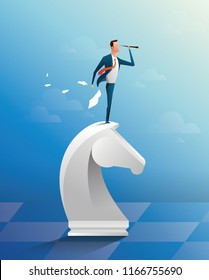 Businessman on top of horse chess piece using telescope looking for success, opportunities, future business trends. Successful business strategy concept. Cartoon Vector Illustration.