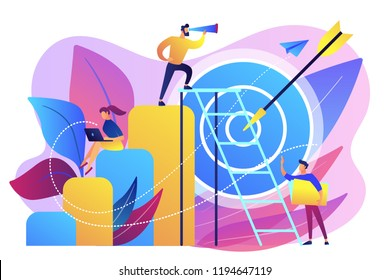 Businessman on top looking into telescope and employees. Business opportunity, bizopp and franchising, distribution concept on white background. Bright vibrant violet vector isolated illustration