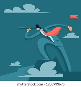 Businessman on top of a mountain looks into a telescope. Business success concept. Vector illustration in flat style