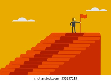 businessman on the top of stairs, vector illustration of business cartoon. success concept