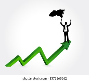 businessman on top of a successful graph.  Concept isolated over a white background
