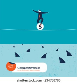 Businessman on unicycle on a tightrope with sharks. Vector illustration Eps10 file. Global colors. Text and Texture in separate layers.