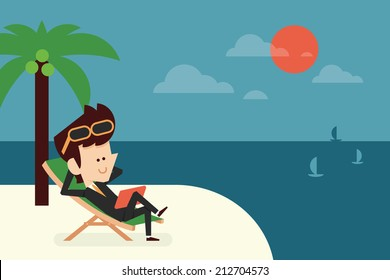 businessman on vacation flat design, vector