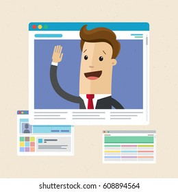 Businessman on the web page. Internet technology concept. Vector, flat