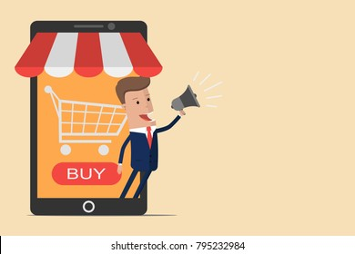 Businessman with online store concept on smartphone. Business and Digital marketing Concept. Mobile shopping. Vector illustration