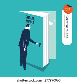 Businessman opening a book door to social media. Vector illustration Eps10 file. Global colors. Text and Texture in separate layers.