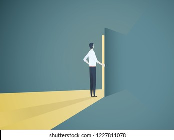 Businessman opening door vector concept. Symbol of new career, opportunities, business ventures and challenges. Eps10 vector illustration.