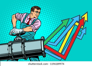businessman opens pipe, growth chart up. Plant and industry. Pop art retro vector illustration vintage kitsch