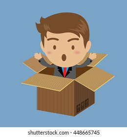 Businessman out of box, business concept