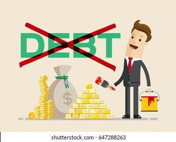 Businessman ?ross out word debt and money lie next to the businessman. Clear debt concept. Vector, illustration, flat