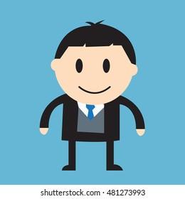 Businessman over growing chart - vector illustration