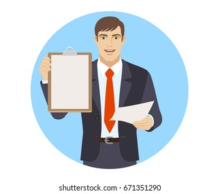 Businessman with paper holding the clipboard. Portrait of businessman character in a flat style. Vector illustration.