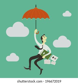 Businessman paragliding in the sky with an umbrella.