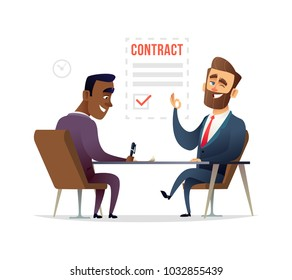 Businessman partnership beginning. Partners signing contract agreement closing deal. Business deal concept illustration.