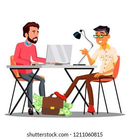 Businessman Passing A Bag With Money Under The Table To Another Businessman Vector. Isolated Illustration