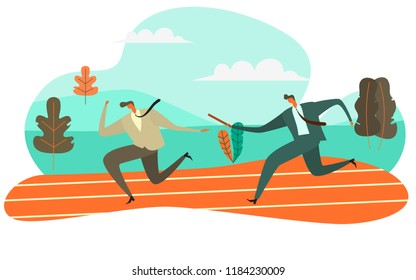 Businessman Passing Baton to His Colleague in Relay Race, Vector Illustration Teamwork concept
