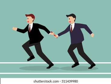 Businessman passing the baton in a relay race. Partnership or teamwork concept