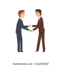 Businessman passing cash money to his corrupted partner, corruption and bribery concept vector Illustration